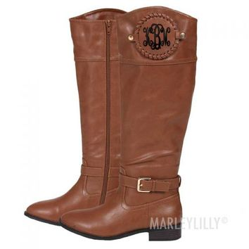 Monogrammed Brown Riding Boots | Marleylilly