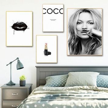 Woman Picture  coco lipstick girl Wall Art Nordic Posters and Prints Canvas Painting for Living Room Modern Home Decor