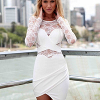 Lace Long Sleeve Asymmetrical Wrap Mini Bodycon Dress