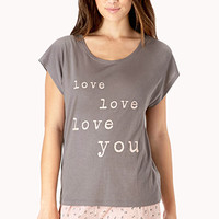 FOREVER 21 All You Need Is Love PJ Set Grey/Dusty Pink Small