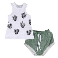 2pcs!!Kids Newborn baby Girls Hawaii Beach Style Tank Top T-shirt +Shorts Infant Clothes 2pcs Outfits Sets