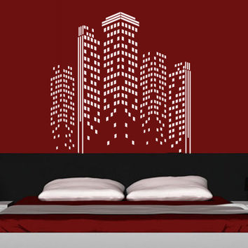 City Skyline Wall Decal Vinyl Sticker Decals Art Decor Design Buildings Town Lights Block USA NY Damask Pattern Bedroom Dorm Mural (m1379)