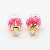 Rose Red Faceted Stone Decorated Ball Crystal Detail Earrings