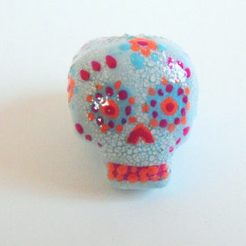 Dreadlock Bead 8mm Dread Beads Sugarskull Sugar Skulls One of A Kind Hand Cast Hand Painted Resin Bead for Dreads