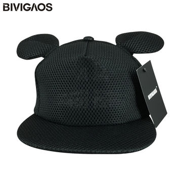 2016 New Fashion Summer Women Black Lovely Sun Hats Cartoon Cute Mouse Big Ears Black Mesh Baseball Caps Female Gorras Snapbacks