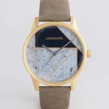 UNKNOWN Urban Geo Leather Watch In Grey at asos.com