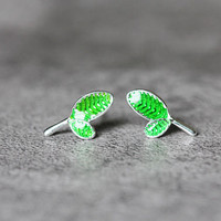 Green Leaf Earrings, Sterling Silver Leaf Stud Earrings, tree leaf Earrings, green Studs Earrings, Leaf Jewelry, gift for her