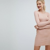 ASOS Mini Rib Bodycon Dress with Frill Cuffs at asos.com
