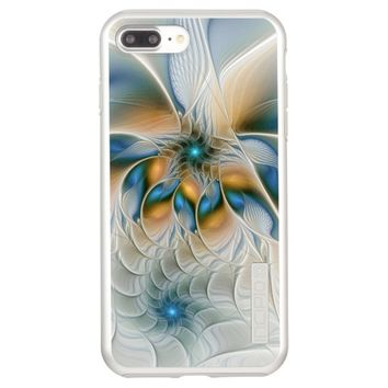 Soaring, Abstract Fantasy Fractal Art With Blue Incipio DualPro Shine iPhone 7 Plus Case