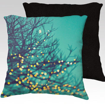 "Christmas pillow,18x18 or 22x22 ""twinkle lights"",tree branches,turquoise pillow,aqua,whimsical home decor,photo pillow,holiday,nature"