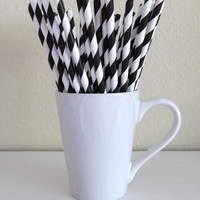 Paper Straws - 25 Black and White Striped Party Straws Birthday Wedding Baby Shower Bridal Shower Graduation