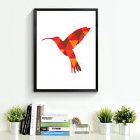 Hummingbird Print Art, red orange Wall Prints, Geometric Hummingbird, Wall Print Art, Print Hummingbird Art, red orange Wall Art *167*