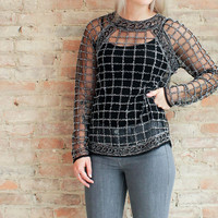 City Nights Beaded Top - Black