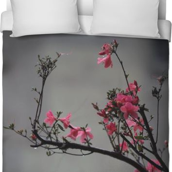 RODC Gray with Pink Flowers Duvet Cover