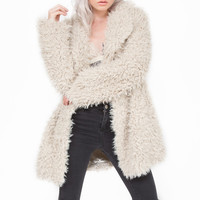 First Frost Plush Faux Fur Shaggy Jacket