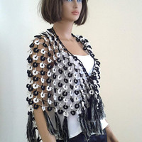 Crochet triangle flower bridal shawl, white and black , tasseled, FREE SHIPPING