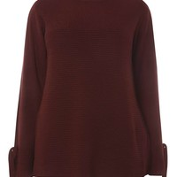 DP Curve Berry Ribbed Tie Sleeve Jumper - Plus Size Knitwear - Shop By Fit