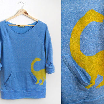 Yellow Dino HAND STENCILED Deep Scoop Neck by twostringjane