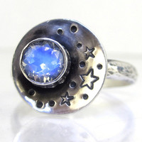 "Rainbow Moonstone Ring Sterling Silver ""Our Love is Written in the Stars"""