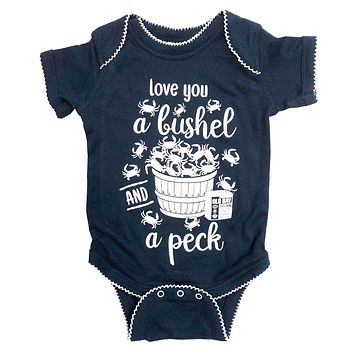 Love You A Bushel & A Peck (Navy w/ White Outline) / Baby Onesuit