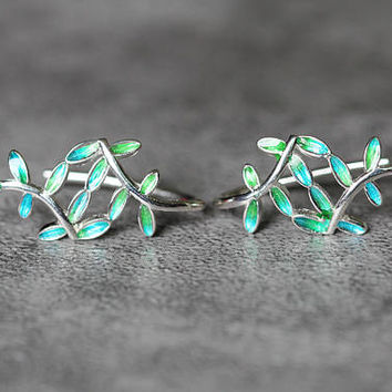 Green & Blue Leaf Earrings, Sterling Silver Leaf Earrings, twig Earrings, Tree Branch Earrings, blue green leaf earrings, gift for her