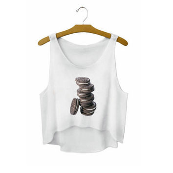 Women's Oreo Cookies Printed Cute Sexy Girl Cropped Sports Summer Harajuku Style Camisole Youth White Tank Top Crop Top