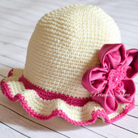 Ivory Sun Hat for Baby Girls, Baby Summer Hat, Baby Girl Cotton Hat, Ivory and Fuschia, size 0 - 12 months