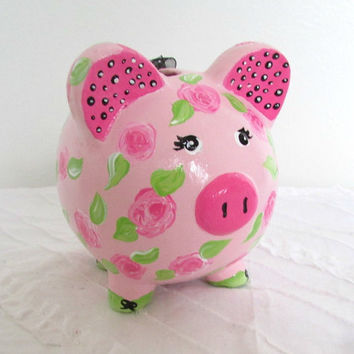 Painted Piggy Bank, Personalized, Hand Painted, Customized Piggy Bank, Rose Bank, Children's Bank, Girl Bank, Pink and Black, Small Bank