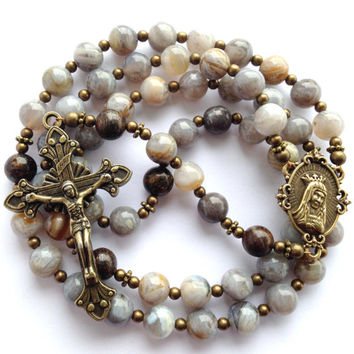Silver Needle Rosary, Silver Needle Beads, Catholic Rosary, Bronzite Beads, Immaculate Heart of Mary, Bronze Crucifix, Rosary Beads