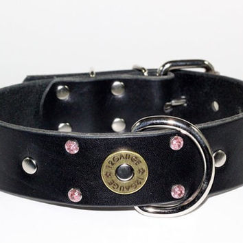 "Black Leather Dog Collar - 1-1/2"" Shotgun Shell Leather Dog Collar - Pink Crystal Leather Ammo Dog Collar"