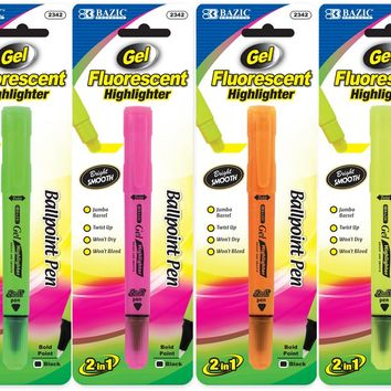 BAZIC 2 In 1 Fluorescent Gel Highlighter & Ballpoint Pen Case Pack 24