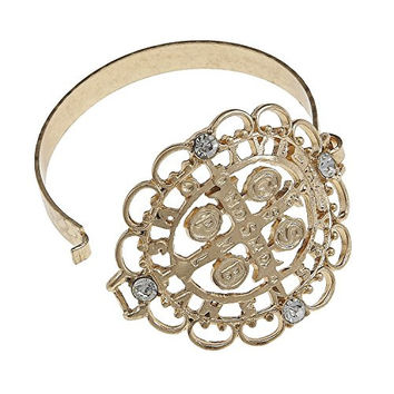 Women's Gold Ornate San Benito Latch Bracelet. Ornate Medal of St. Benedict Latch Bracelet in Antique Gold Plating with Clear Rhinestone Accents.