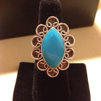 Amazonite Sterling Ring Size 7 Silver 925 Southwestern Vintage Jewelry Tribal Natural OOAK Artisan Big Huge Turquoise Blue Stone Boho Chic