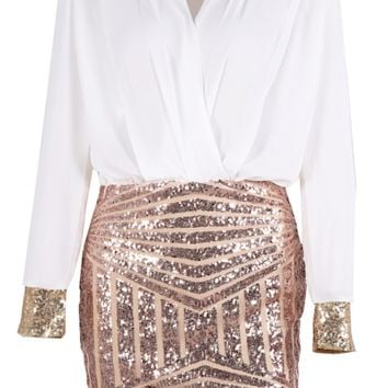 Taylor Geo-Sequined Color Block Dress - White & Pink