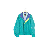 90s LONDON FOG JACKET / vintage 1990s 80s / teal golf windbreaker / retro / primary color block / minimal / 80s / basic / extra large  xxl