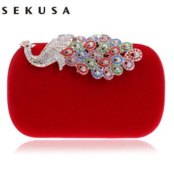 SEKUSA  Women Evening Bags Diamonds Metal Peacock Day Clutches Purse Chain Shoulder Messenger Small Cross Body Purse Bags