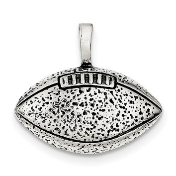 Sterling Silver Antiqued Football Pendant QC4135