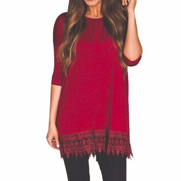 Women's Long Burgundy Wine Sleeve Lace Trim Casual Shift Dress