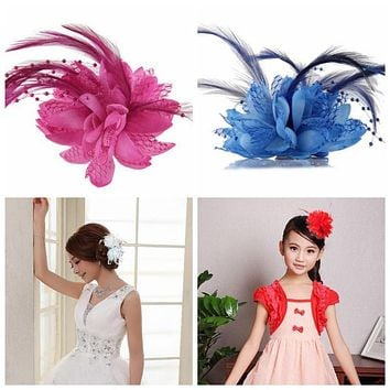2016 8 Colors Flower Feather Bead Corsage Hair Clips Fascinator Bridal Hairband Party