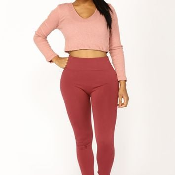 Yes Fleece III Leggings - Mauve