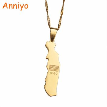 Anniyo map of togolaise pendant necklaces jewellery map togo gold color  jewelry togolese necklace #002421