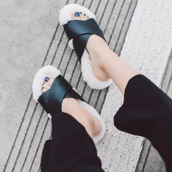 2017 New fashion brand mixed color flat with platform women wool peep toe genuine leat