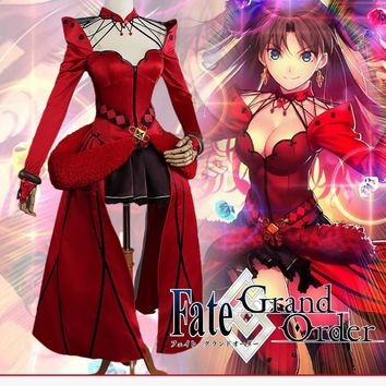 UWOWO Rin Tohsaka Cosplay Game Anime Fate Grand Order Formal Craft Red Dress Costume Fate Grand Order Cosplay Rin Tohsaka