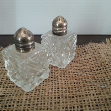 Vintage Salt and Pepper Shakers- Beveled Glass with Chrome Lid
