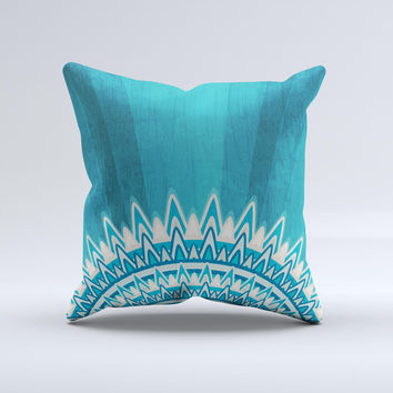Blue Spiked Orb Pattern V3 ink-Fuzed Decorative Throw Pillow