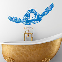 Wall Decal Turtle Sticker Sea Animals Tortoise Tortoiseshell Decals Bathroom Bedroom Turtle Wall Art Nautical Marine Sea Ocean Decor C091