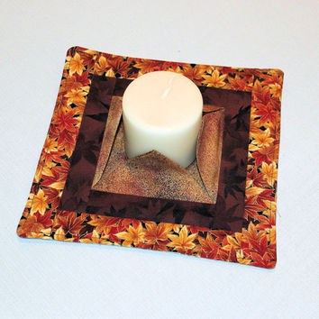 Fall Quilted Candle Mat - Medium Metallic Leaves & Brown Mini Quilt - Centerpiece , Vase or Plant Mat - Flameless Candle Mat - Hostess Gift