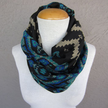 Tribal Infinity Scarf - Wild Print Circle Scarf - Black, Teal, and Purple Scarf - Tribal Print Accessory