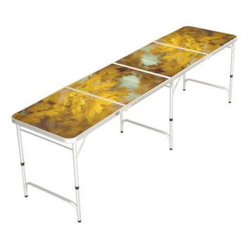 Yellow autumn maple leaves. Add text. Beer Pong Table