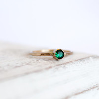 Emerald Ring - May Birthstone Ring - Gemstone Ring - 14k Gold Fill or Sterling Silver - Stacking Ring - Thin Simple Ring -  Bezel Ring